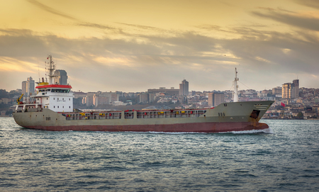 Cargo ship on Bosphorus in Istanbul, Turkey.
