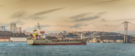 Cargo ship on Bosphorus in Istanbul, Turkey. Panoramic view