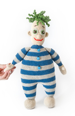 Knitted toy - on white background