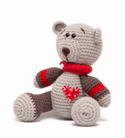 Knitted toy - isolated on white background Фото со стока