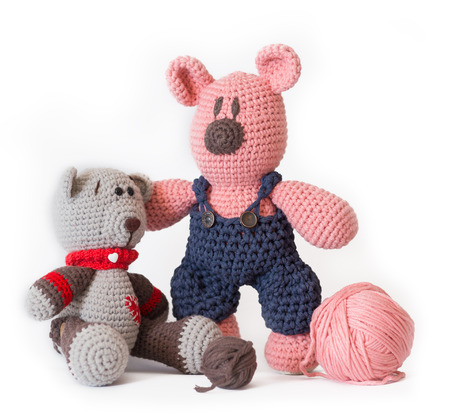 Knitted toy - isolated on white background Stock Photo
