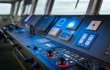 Wheelhouse control board of modern industry ship Foto de archivo
