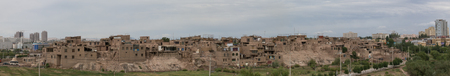 xinjiang: Panorama of high platform dwellings in Xinjiang, Kashi