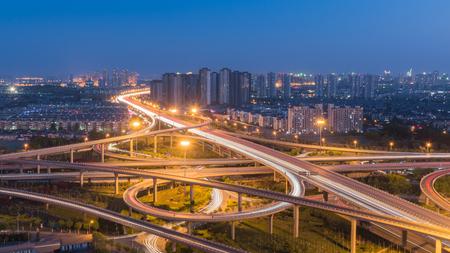 Night view of Jin Kun bridge in Tianjin, China