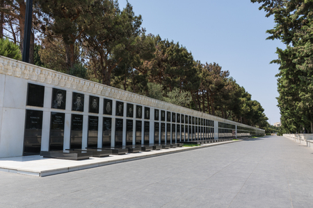Azerbaijan Baku outside Caucasus Fire Temple Shahid Monument
