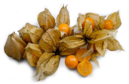 Physalis Gooseberries Isolate On White Banco de Imagens