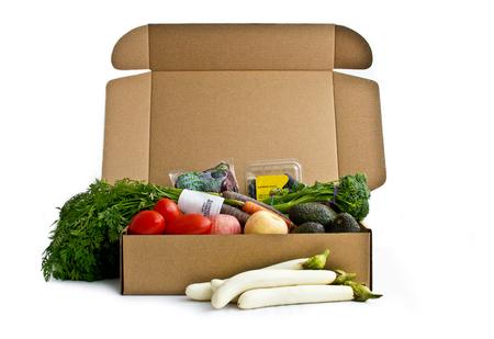 Box of Fresh Produce On White