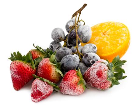 Fizzy Frozen Fruits On White Banco de Imagens