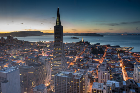 aerial: Dusk over Financial District, San Francisco, California.