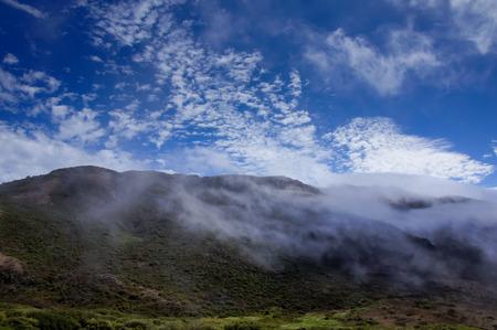 green ridge: Foggy Ridge, Wispy Clouds, Blue Sky and Green Meadows. Marin Headlands, California