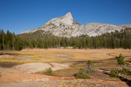 sierra nevada mountain range: Cathedral Peak and meadows from Cathedral Lakes, Yosemite National Park