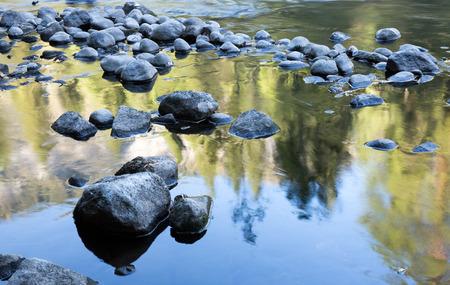 merced: Merced River Reflections, Yosemite National Park, California Stock Photo