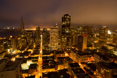Aerial Views of San Francisco Financial District from Nob Hill, Night Stock Photo