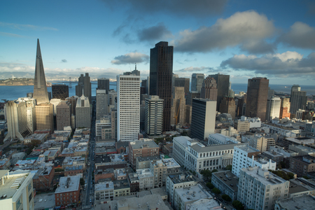 nob hill: Aerial Views of San Francisco Financial District from Nob Hill, Sunset