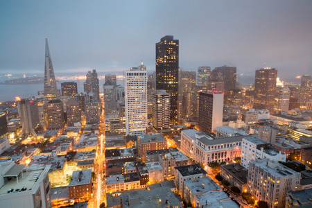 nob hill: Aerial Views of San Francisco Financial District from Nob Hill, Dusk