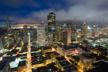 francisco: Aerial Views of San Francisco Financial District from Nob Hill, Dusk