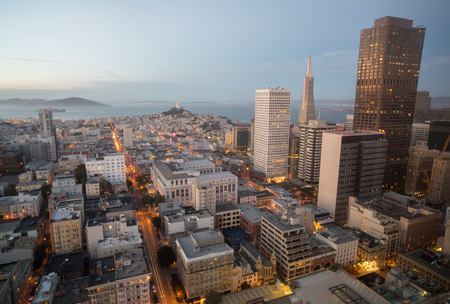 francisco: Aerial Views of City Skyline and San Francisco Bay from Downtown, Dusk Stock Photo