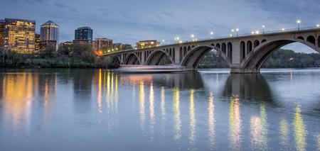 rosslyn: Dusk over Key Bridge and Rosslyn, Washington DC, USA
