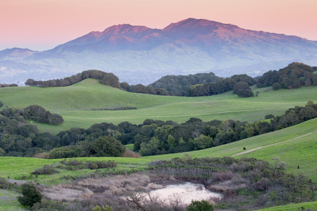 diablo: Sunset over Mt Diablo from Rolling Grassy Hills of Briones Regional Park