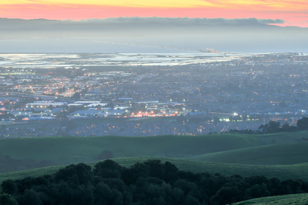 bay: Dusk over Silicon Valley from the East Bay, California Stock Photo