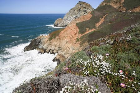sheer: Devils Slide sheer cliffs, coastal promontory, San Mateo County, California