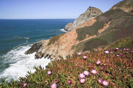 promontory: Devils Slide sheer cliffs, coastal promontory, San Mateo County, California