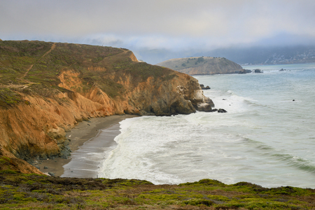 point of view: Scenic views of the peninsula coastline. Mori Point, Pacifica, California, USA. From atop Mori Point view of the coast looking south. Stock Photo
