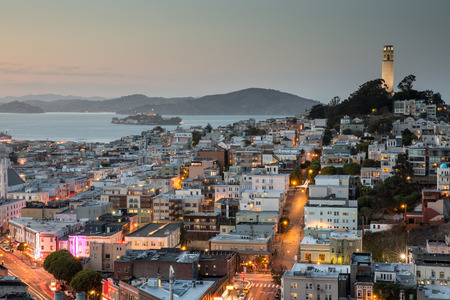 San Francisco in Blue and Gold. Dusk over Telegraph Hill and North Beach.San Francisco, California, USA. Stock Photo