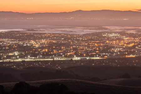 regional: Dusk over Silicon Valley, Garin Regional Park, San Francisco East Bay, California, USA.