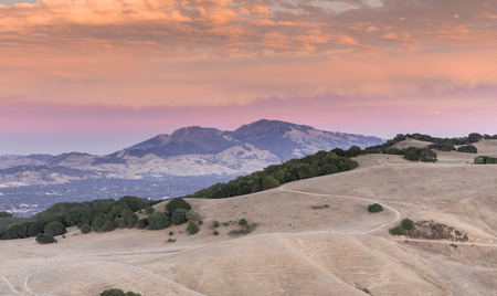 Mt. Diablo Sunset. Contra Costa County, California, USA. Intense Sunset of Diablo Range  from Mott Peak of Briones Regional Park in Martinez.
