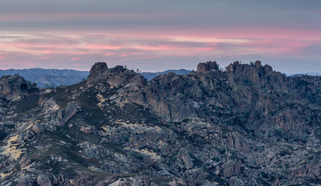Sunset over High Peaks of Pinnacles National Park, California, USA. Breathtaking sunset over the monuments namesake rock spires.
