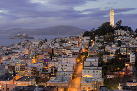 coit tower: Telegraph Hill and North Beach Neighborhoods. Evening in San Francisco, California, USA. Stock Photo