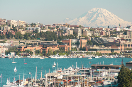 tacoma: Views of Lake Union and Mount Rainier from Aurora Bridge on a summer day.