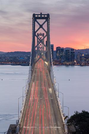 interstate 80: Aerial View of San Francisco-Oakland Bay Bridge at Sunset Stock Photo