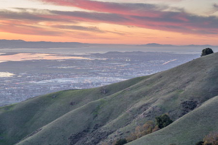rolling hills: Silicon Valley and Rolling Hills at Sunset Stock Photo