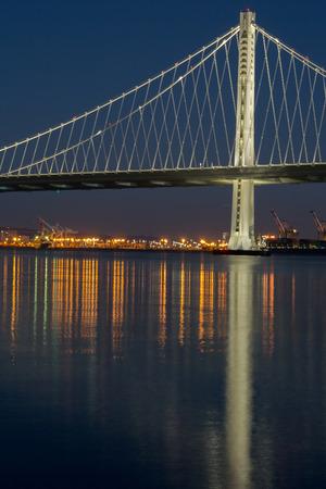 interstate 80: The New San Franciscos Bay Bridge East Wing at Night. The San-Francisco-Oakland Bay Bridge illuminated with led lights.