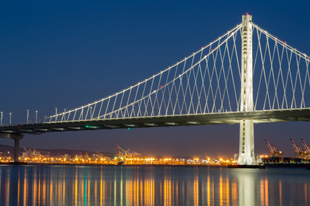 bay bridge: The New San Franciscos Bay Bridge East Wing at Night. The San-Francisco-Oakland Bay Bridge illuminated with led lights.
