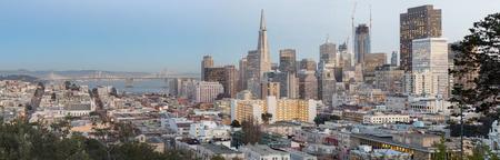 bay bridge: San Francisco Downtown and Bay Bridge Panorama. Aerial views from Russian Hill neighborhood.