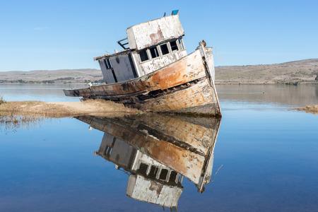 Shipwreck near Point Reyes National Seashore. Inverness, Point Reyes National Seashore, Marin County, California, USA Stock Photo