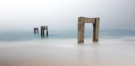 Davenport Pier Beach, Davenport, Santa Cruz County, California, USA. Stock Photo