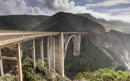 Bixby Creek Bridge After The Storm. Bixby Creek Bridge from its northern end. Big Sur, Monterey County, California, USA. Reklamní fotografie