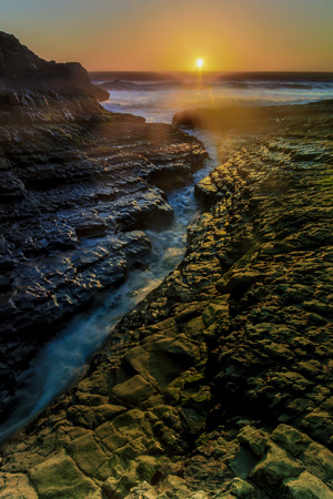 Davenport Crack Sunset. Davenport, Santa Cruz County, California, USA. Stock Photo