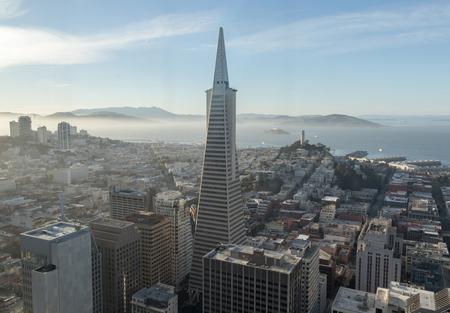 telegraph hill: Aerial view of San Francisco Downtown and San Francisco Bay