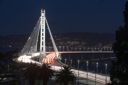 interstate 80: San Francisco-Oakland Bay Bridge Eastern Span at Night. Yerba Buena Island, San Francisco Bay, California, USA.