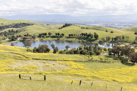 Sandy Wool Lake and Santa Clara Valley at Springtime. Ed R. Levin County Park, Milpitas, Santa Clara County, California, USA.