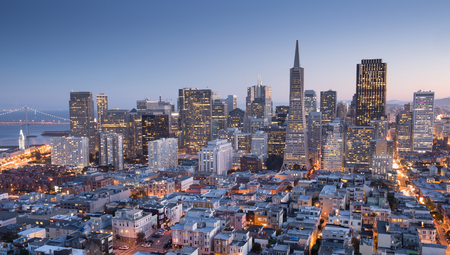 San Francisco Downtown from top of Coit Tower in Telegraph Hill, Dusk. Panoramic aerial view of San Francisco Financial District, Fall 2015. Stock Photo