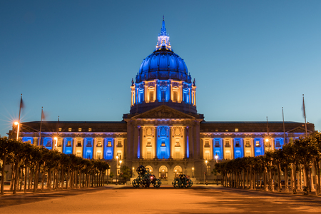 San Francisco City Hall in Golden State Warriors Colors. Civic Center, San Francisco, California, USA.