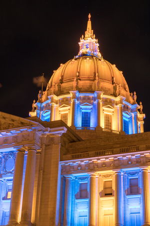 colored gels: San Francisco City Hall in Golden State Warriors Colors. Civic Center, San Francisco, California, USA.