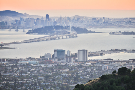 Sunset over San Francisco, as seen from Berkeley Hills. Aerial view of San Francisco from Grizzly Peak in Berkeley. Stock Photo