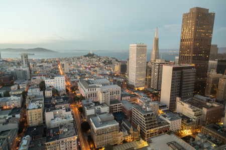 telegraph hill: Aerial View of San Francisco Financial District and San Francisco Bay as seen from Nob Hill Neighborhood.